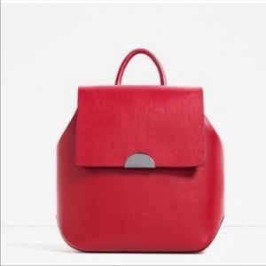 Zara red leather-look backpack
